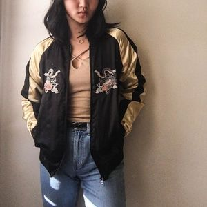 Jackets & Blazers - Embroidered Satin Bomber